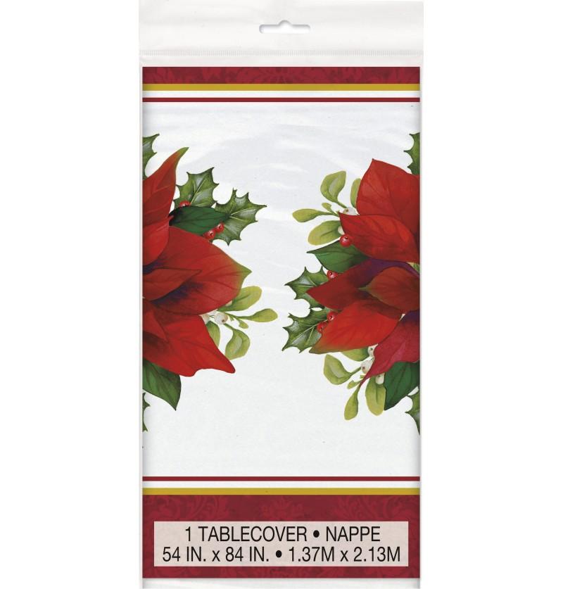 mantel rectangular con flor de pascua elegante holly poinsettia