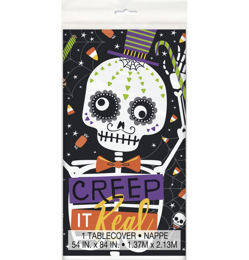 mantel rectangular de esqueletos y calabazas skeleton trick or treat