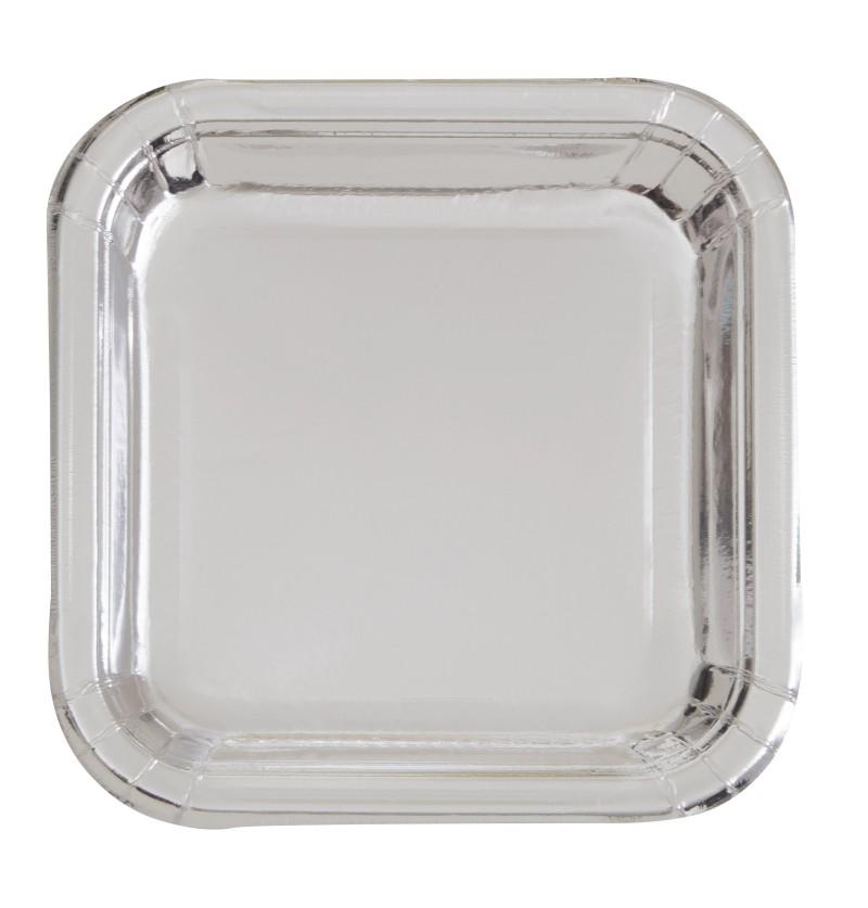 set de 8 platos cuadrados plateados solid colour tableware