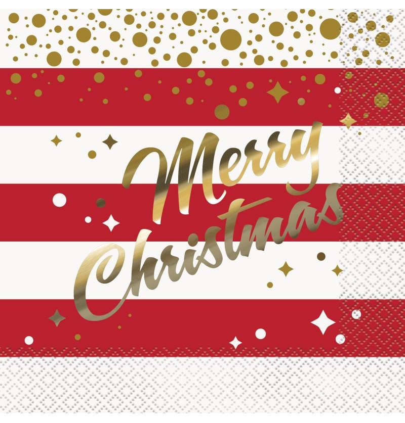 set de 16 servilletas merry christmas gold sparkle christmas