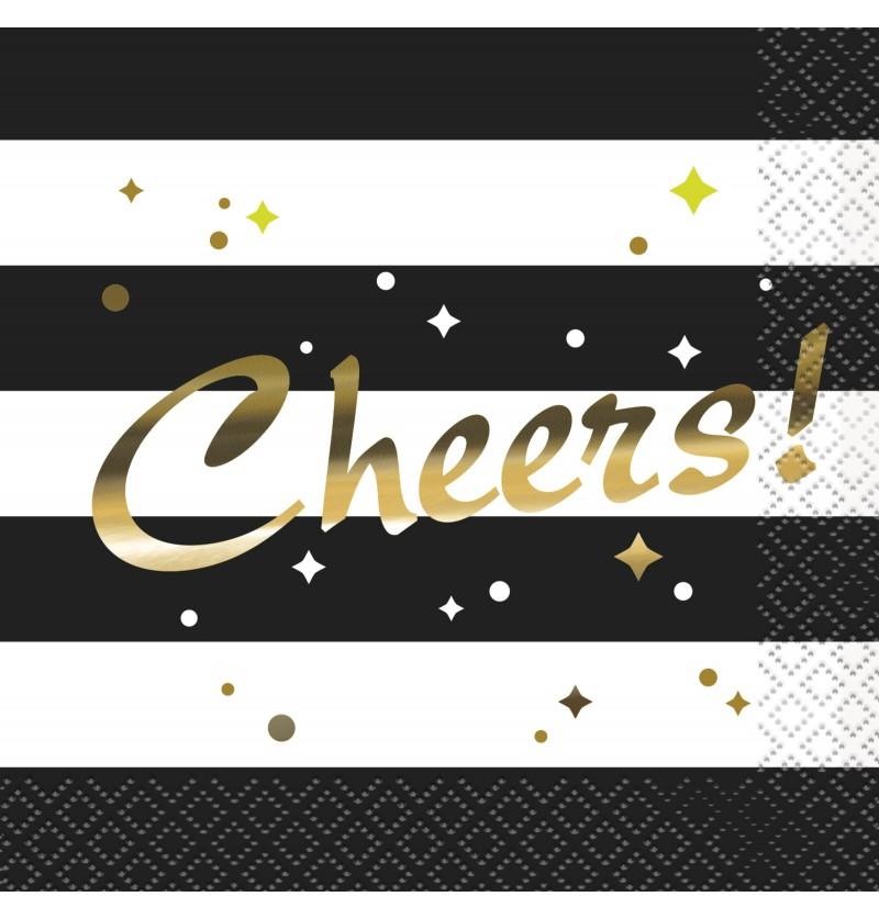 set de 16 servilletas de nochevieja glittering new year chic party
