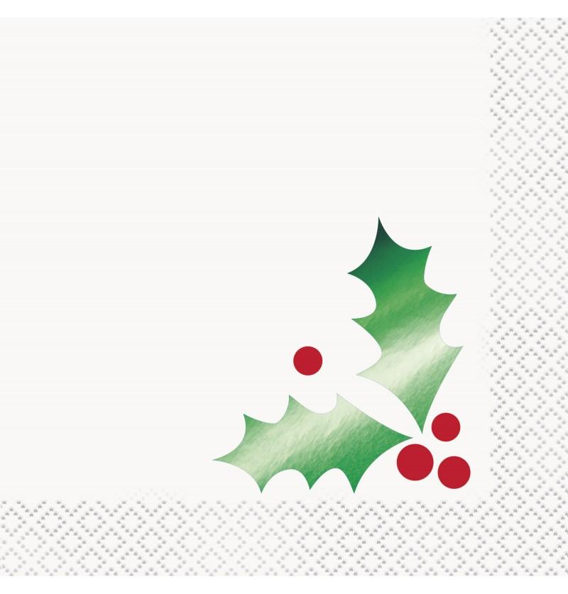 set de 16 servilletas con hoja de acebo basic christmas
