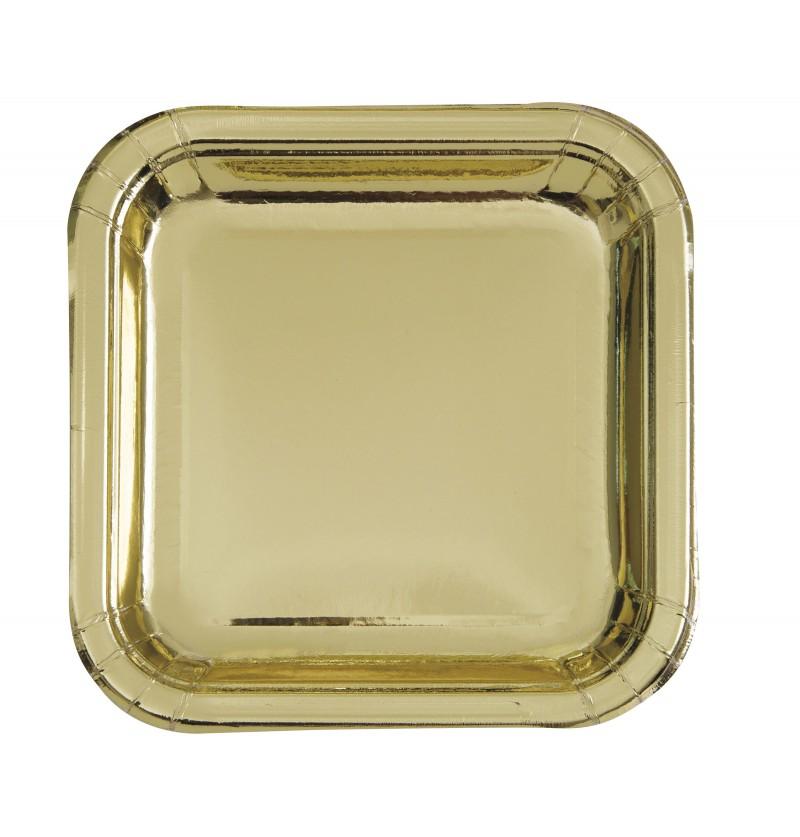 set de 8 platos de postre dorados solid colour tableware