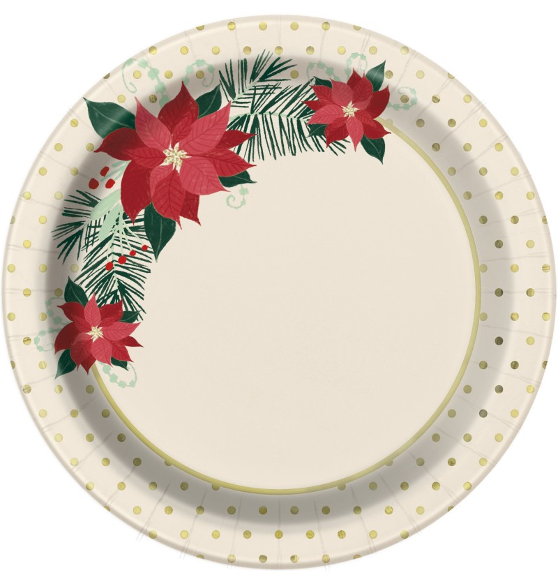 set de 8 platos con flores de pascua red gold poinsettia
