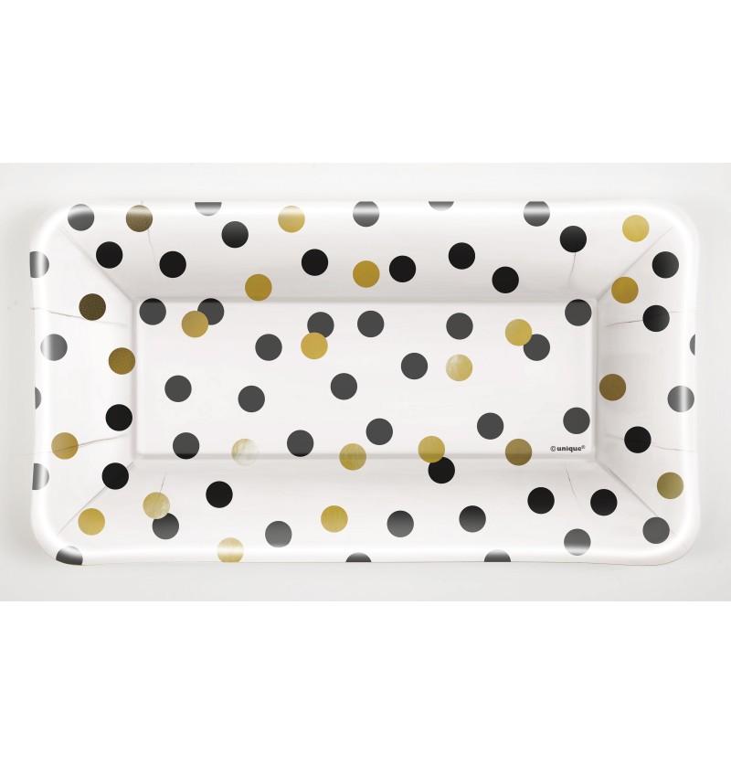 set de 8 bandejas rectangulares de nochevieja glittering new year chic party