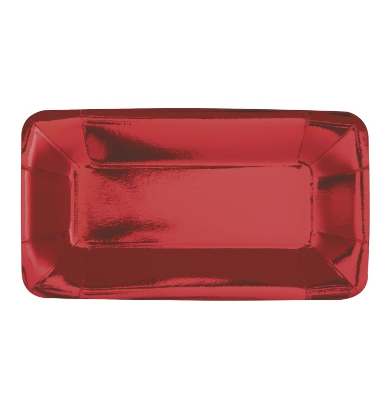 set de 8 bandejas rectangulares rojas solid colour tableware