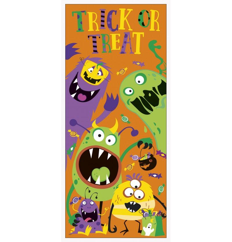 poster para puerta de monstruos infantiles silly halloween monsters