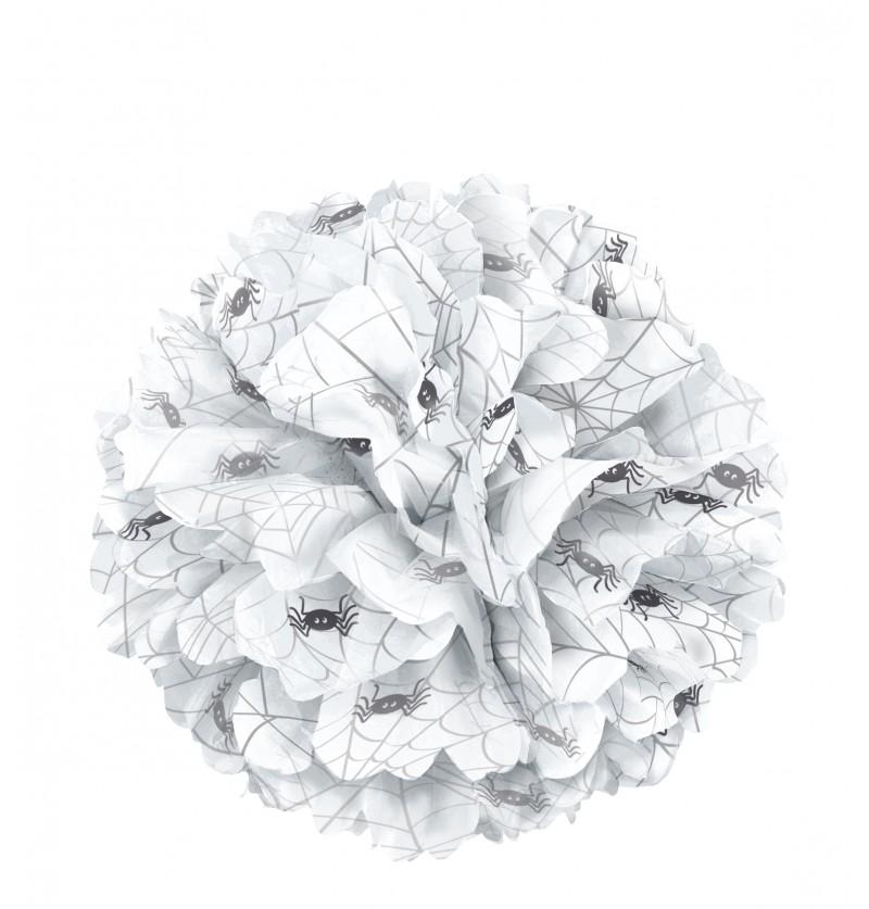 pompn decorativo blanco con araas basic halloween