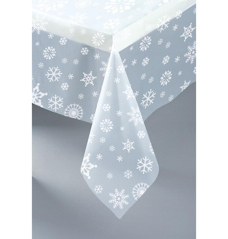 mantel rectangular transparente navideo white snowflakes