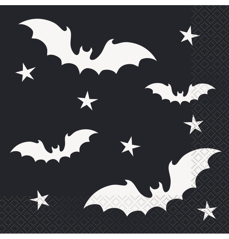 set de 16 servilletas de murcilagos black bats halloween
