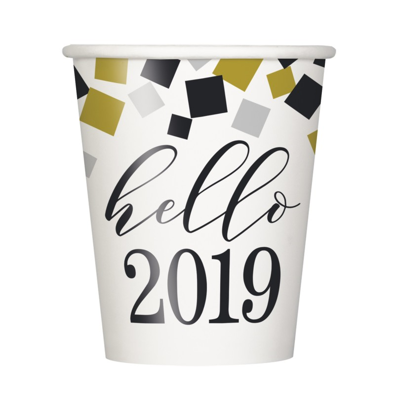set de 8 vasos de nochevieja happy new year