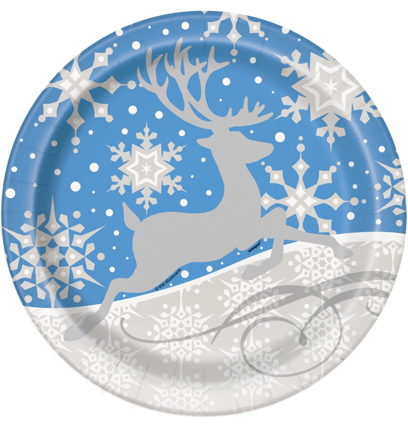 set de 8 platos redondos azules con reno plateado silver snowflake christmas