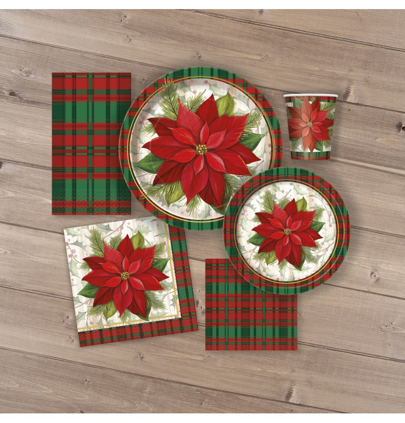 set de 8 platos redondos con flor de pascua y cuadros escoceses poinsettia plaid