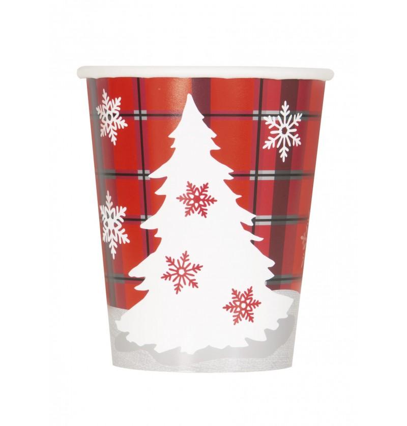 set de 8 vasos con rbol de navidad y cuadros rsticos rustic plaid christmas