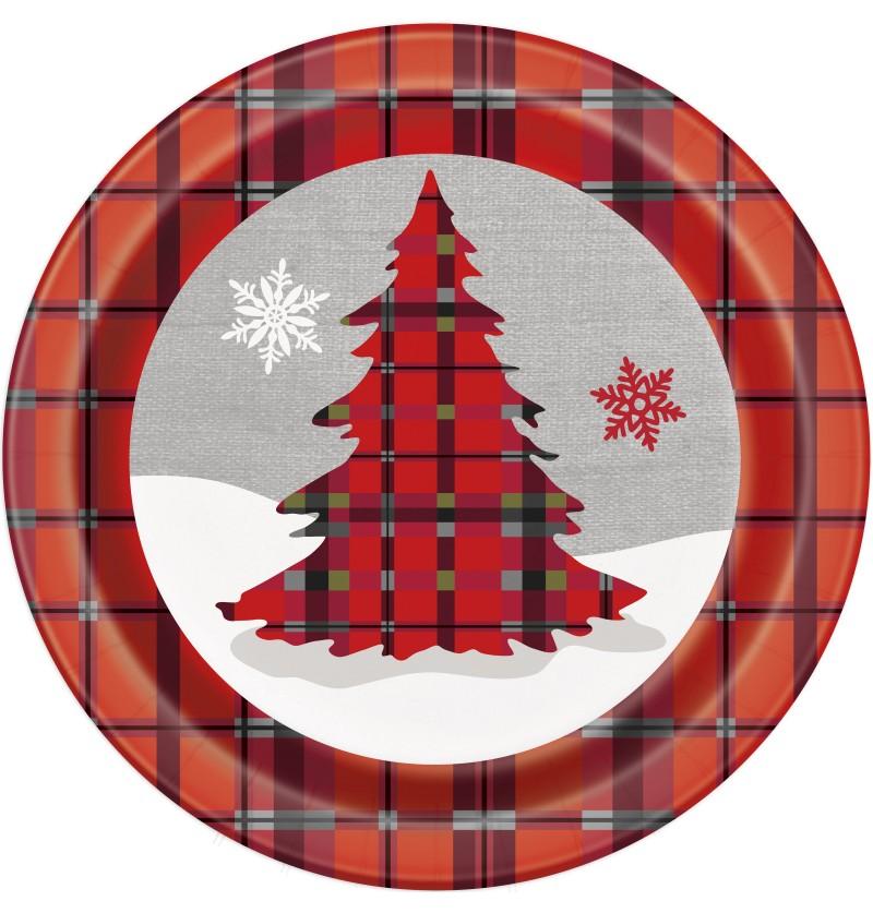 set de 8 platos redondos con rbol de navidad y cuadros rsticos rustic plaid christmas