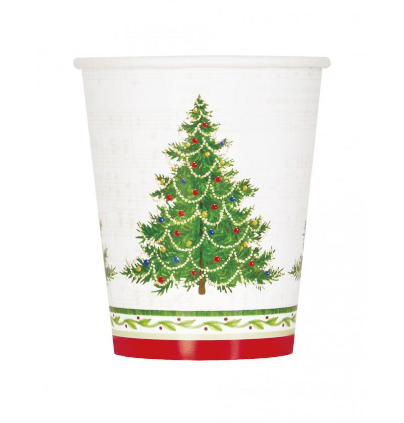 set de 8 vasos con rbol de navidad classic christmas tree