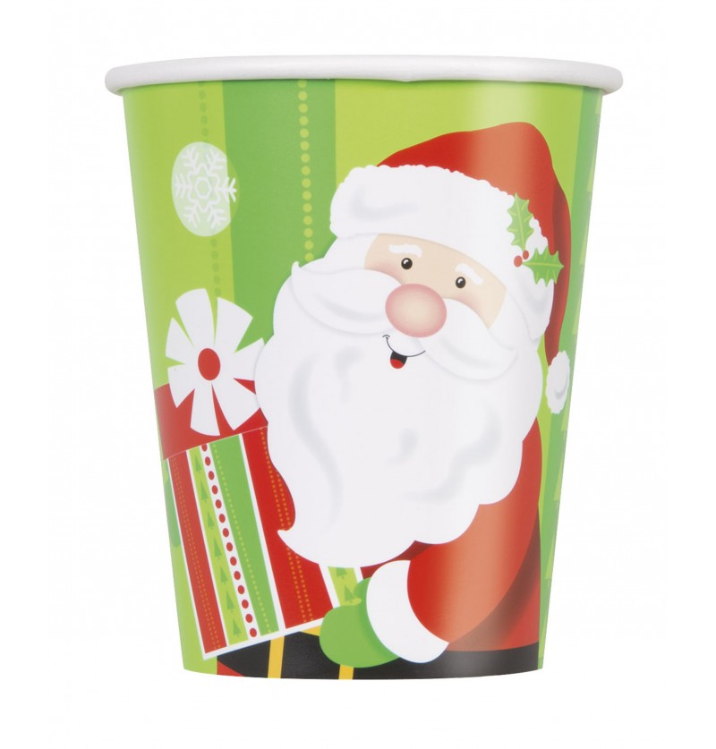 set de 8 vasos de pap noel happy santa