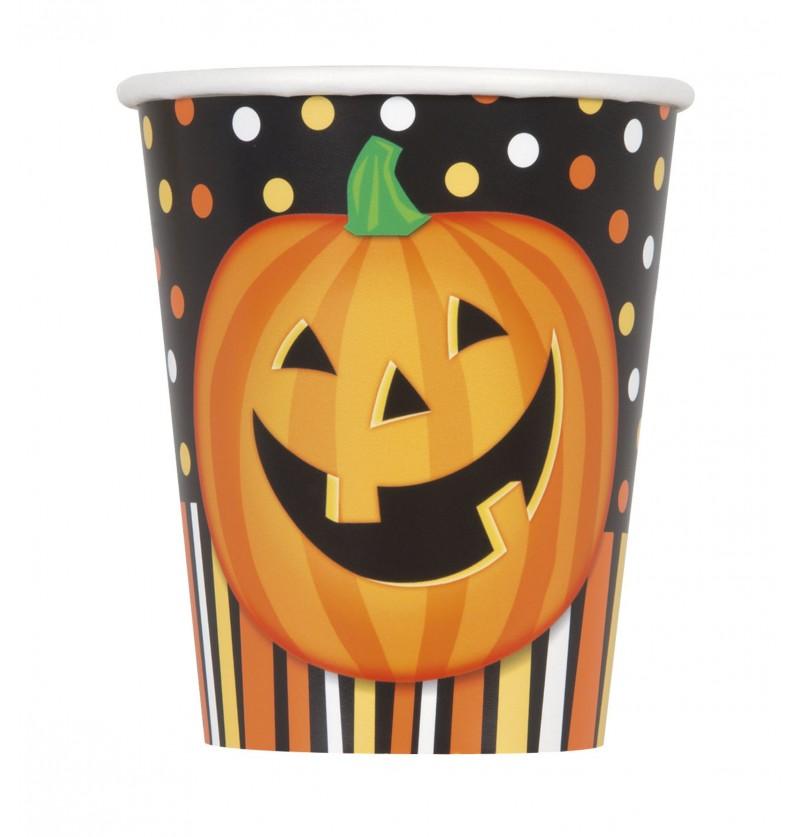 set de 8 vasos de calabaza sonriente con lunares y rayas smiling pumpkin