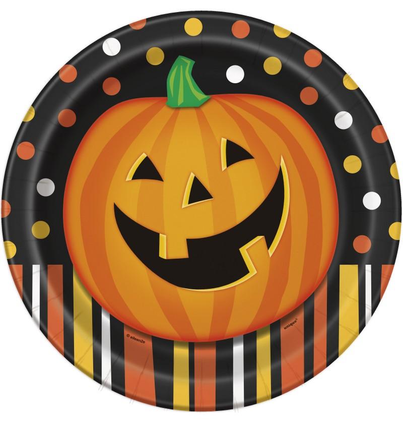 set de 8 platos redondos de calabaza sonriente con lunares y rayas smiling pumpkin