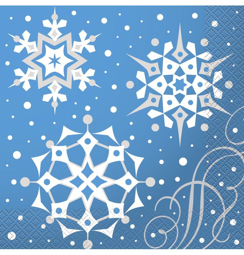 set de 16 servilletas azules con copos nieve plateados silver snowflake christmas