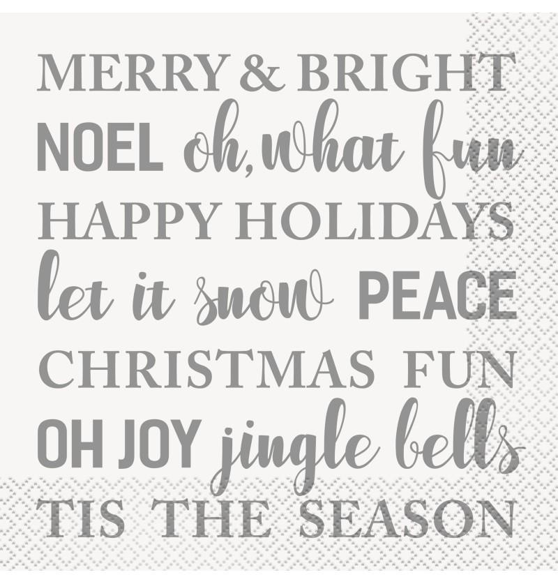 set de 16 servilletas merry bright silver gold holiday snowflakes