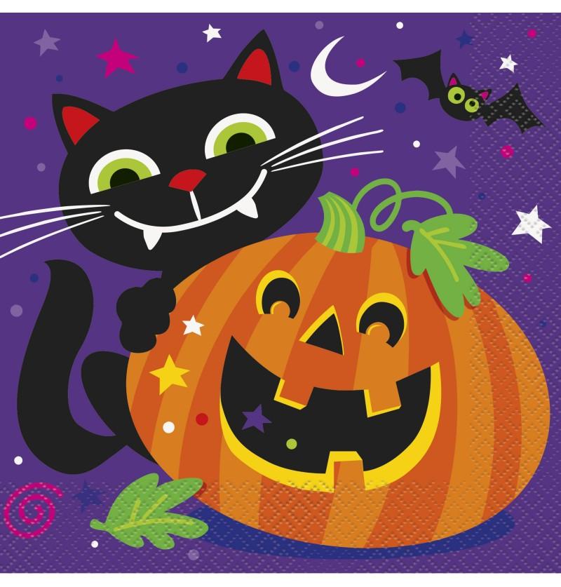 set de 16 servilletas de calabaza y gato divertidos happy halloween