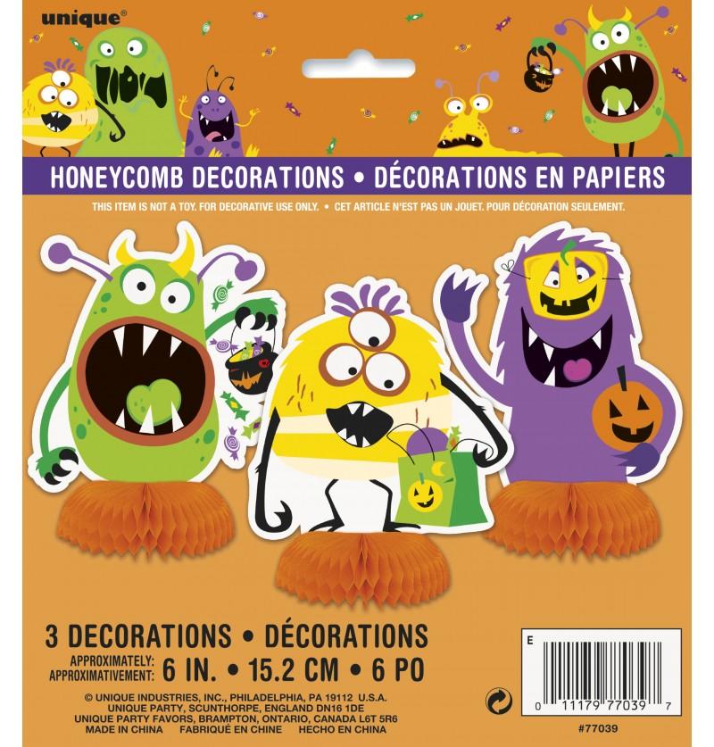 set de 3 decoraciones de mesa de monstruos infantiles silly halloween monsters