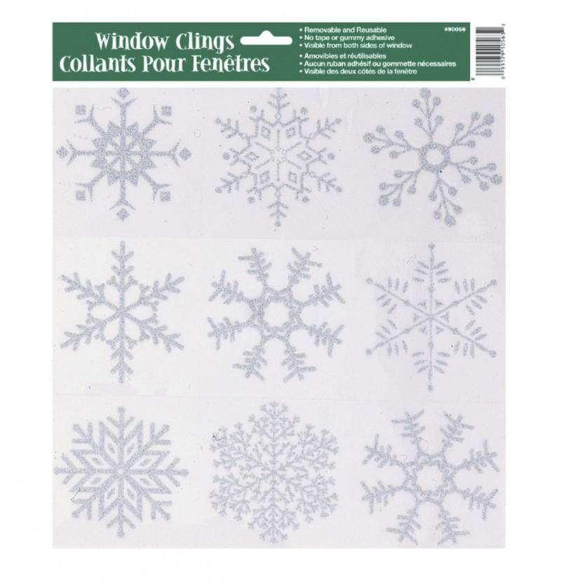 pegatinas para ventana copos de nieve silver snowflake christmas