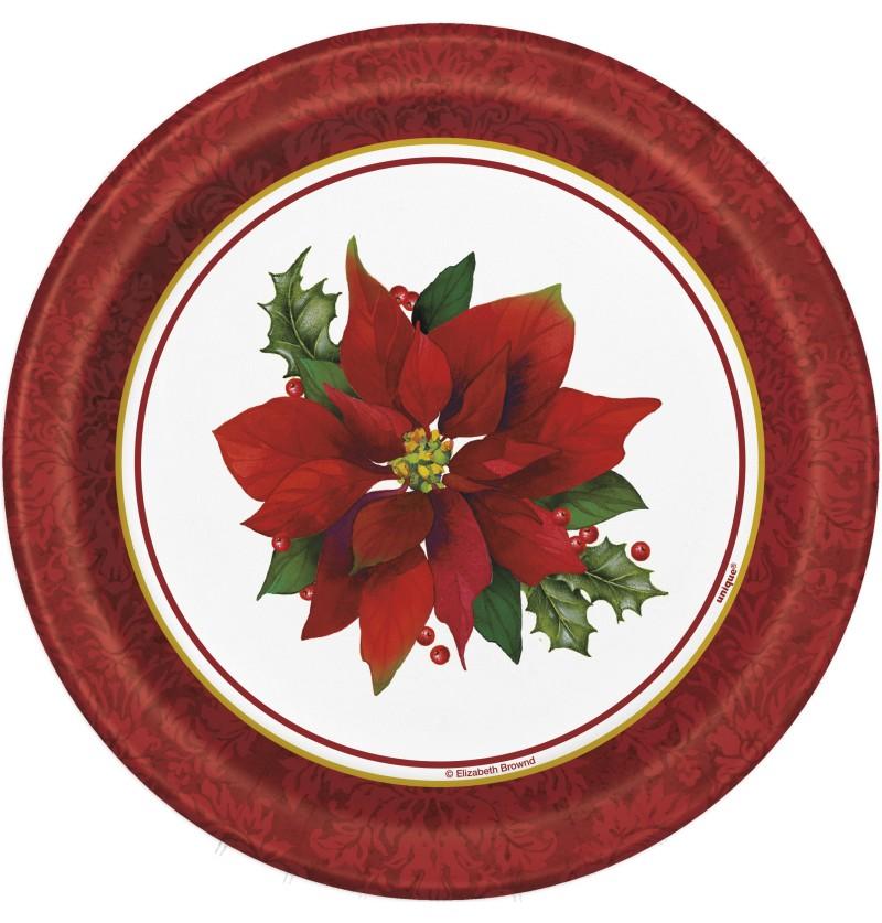 set de 8 platos redondos de postre con flor de pascua elegante holly poinsettia