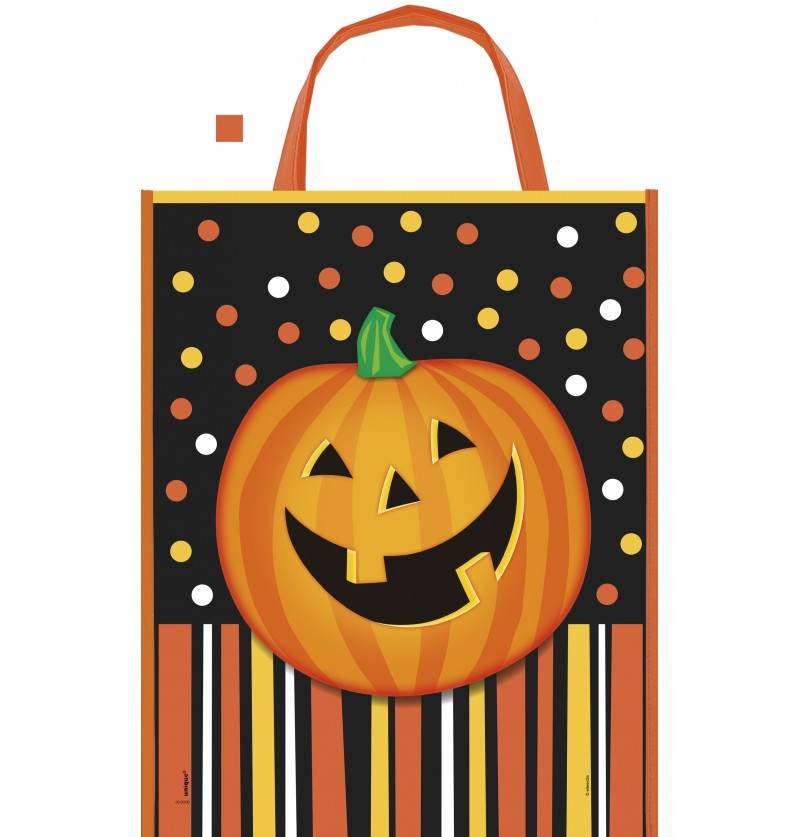 bolsa de calabaza sonriente con lunares y rayas smiling pumpkin