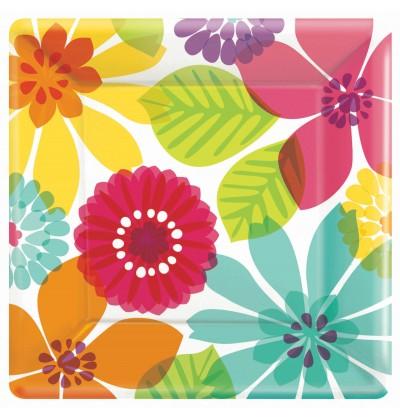set de 8 platos floral multicolor