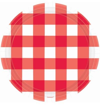 set de 8 platos de cuadros rojos y blancos