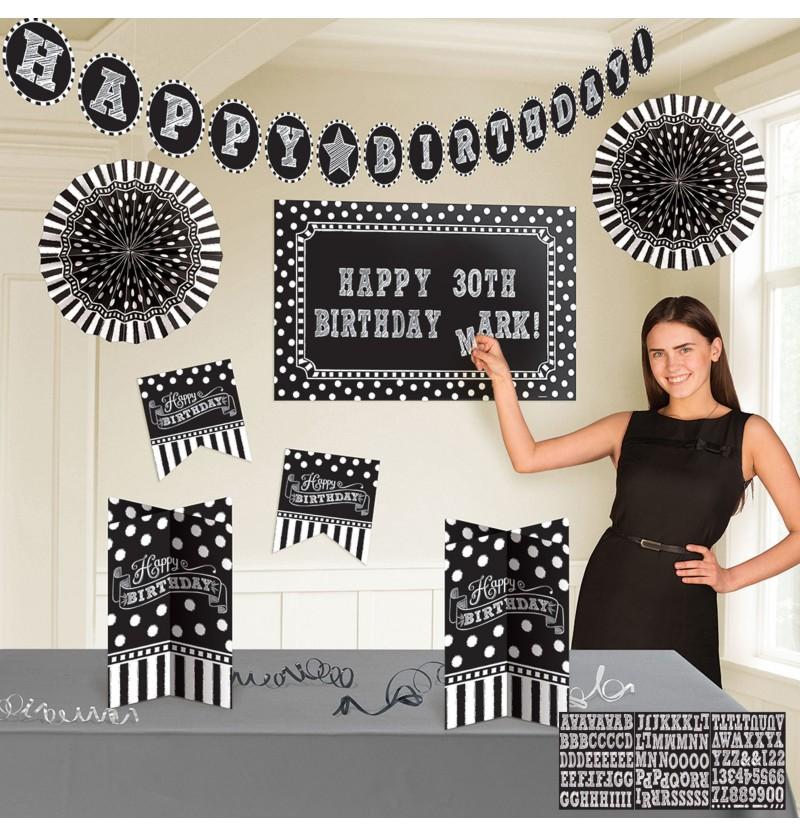 kit de decoracin cumpleaos negro blanco y negro