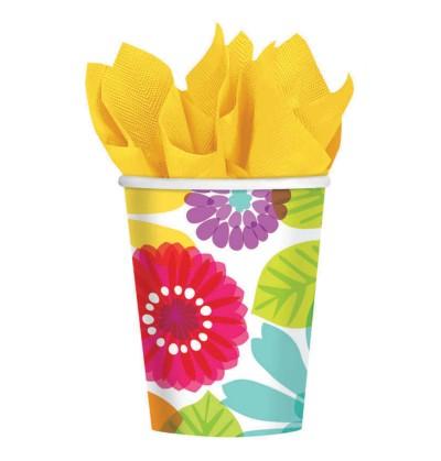 set de 8 vasos de papel floral multicolor