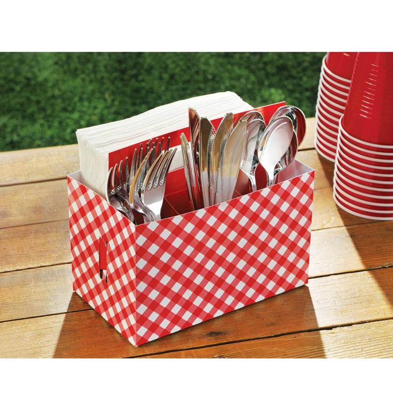 caja de cartn para cubiertos de cuadros rojo y blanco