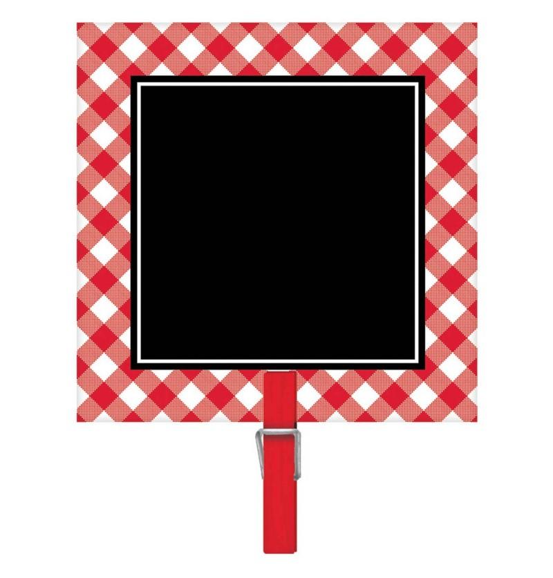 set de 8 carteles de pizarra con mini pinza rojos y blancos