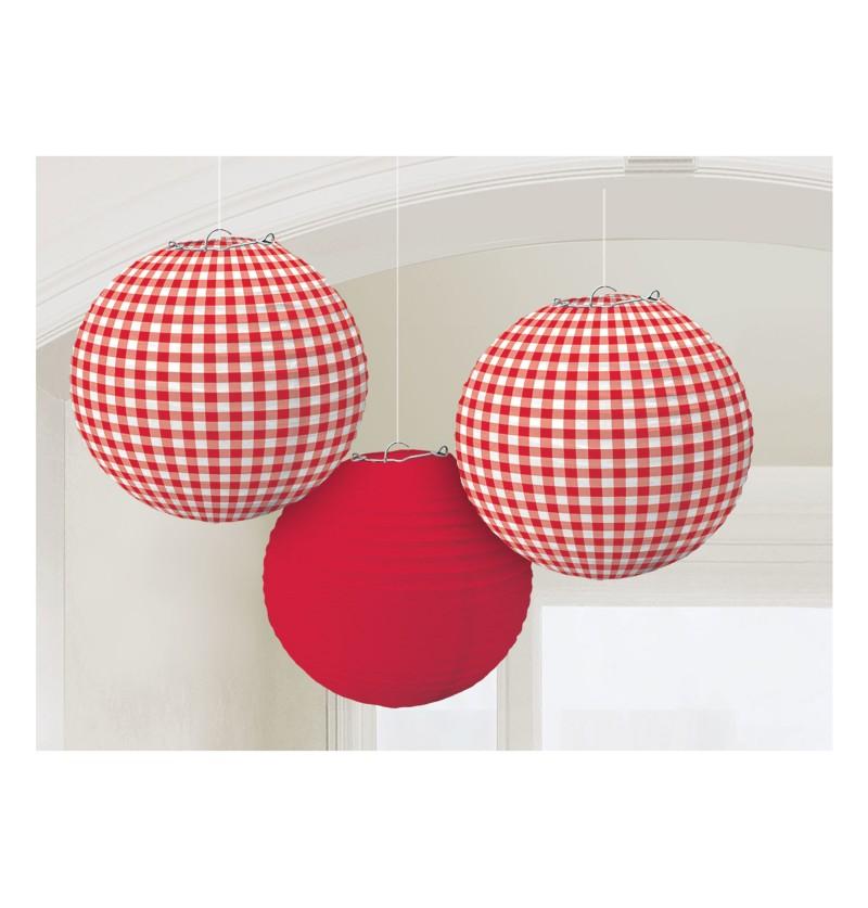 set de 3 esferas colgantes de cuadros rojos y blancos