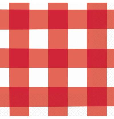 set de 16 servilletas de cuadros rojos y blancos