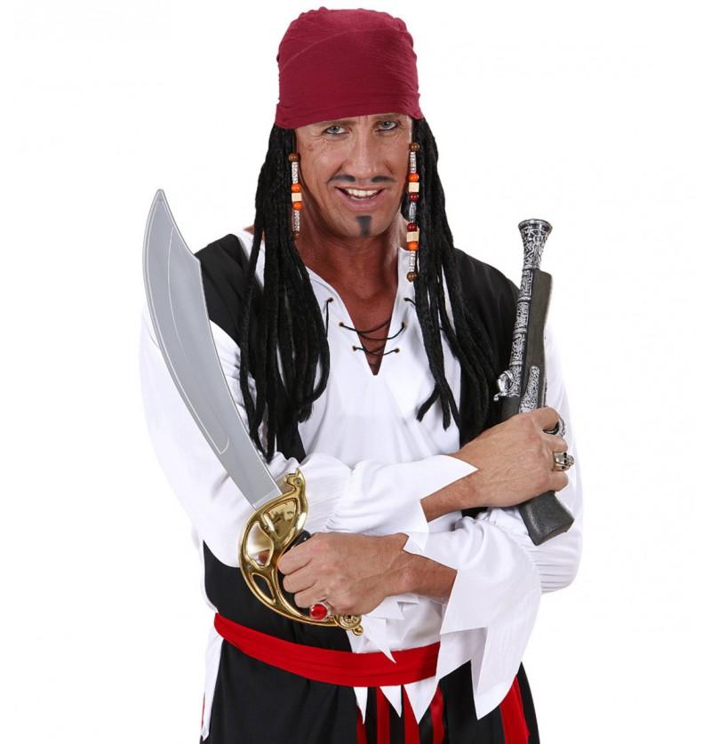 Pañuelo de pirata caribeño con rastas para hombre