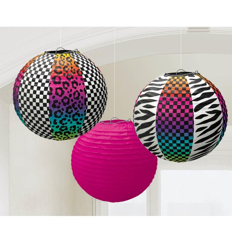 set de 3 esferas colgantes decorativas fiesta de los 80
