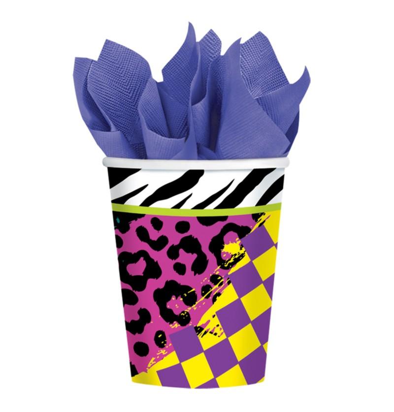 set de 8 vasos de papel para fiesta de los 80