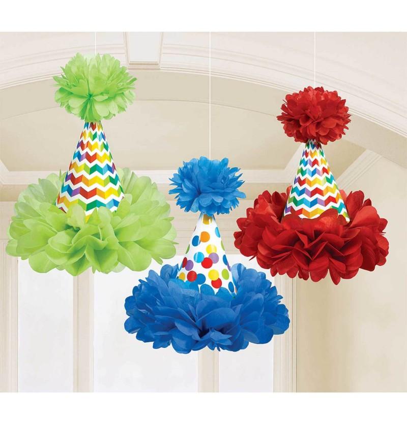 set de 3 conos con pompn colgantes de lunares de colores