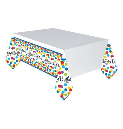 mantel de happy birthday lunares de colores