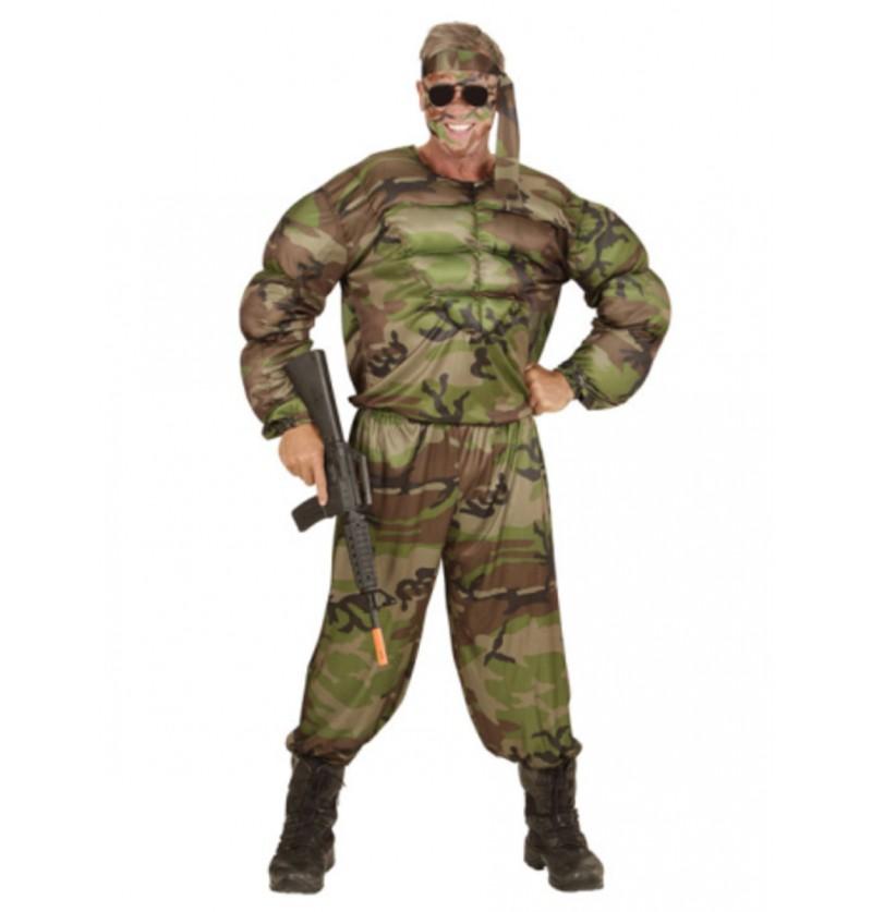 Disfraz de soldado musculoso para hombre talla grande