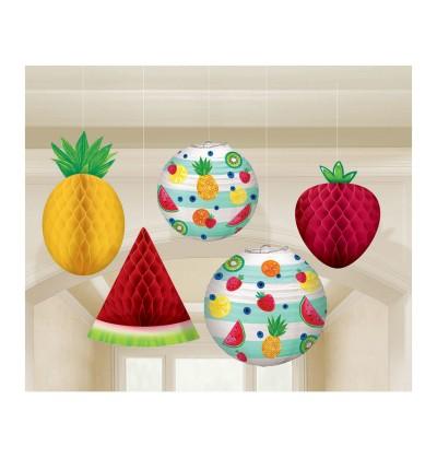 set de decoracin de 5 colgantes tutti fruti