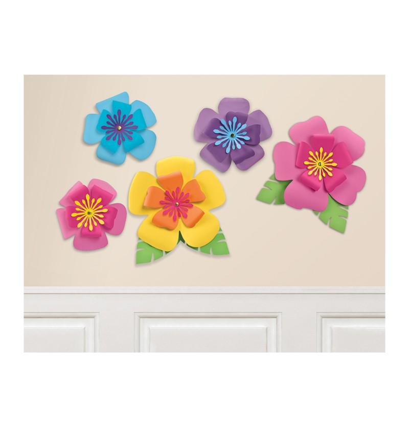 set de 5 flores hawaianas decorativas