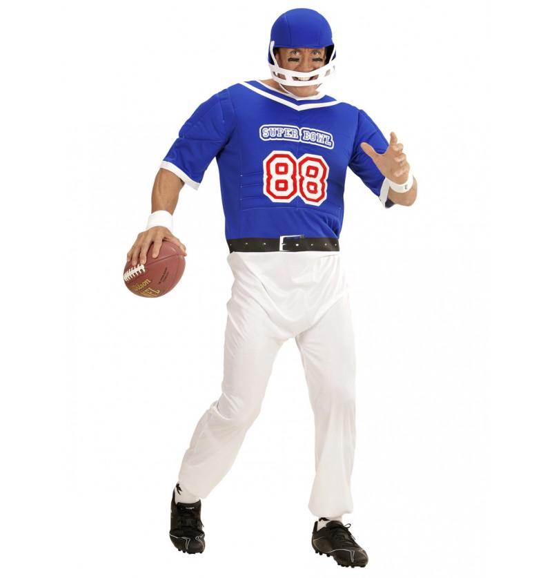 Disfraz de jugador de fútbol americano azul para hombre