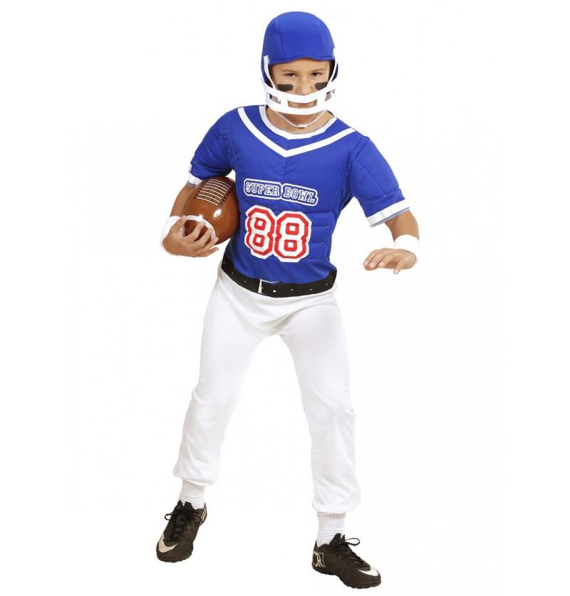 Disfraz de jugador de fútbol americano azul para niño