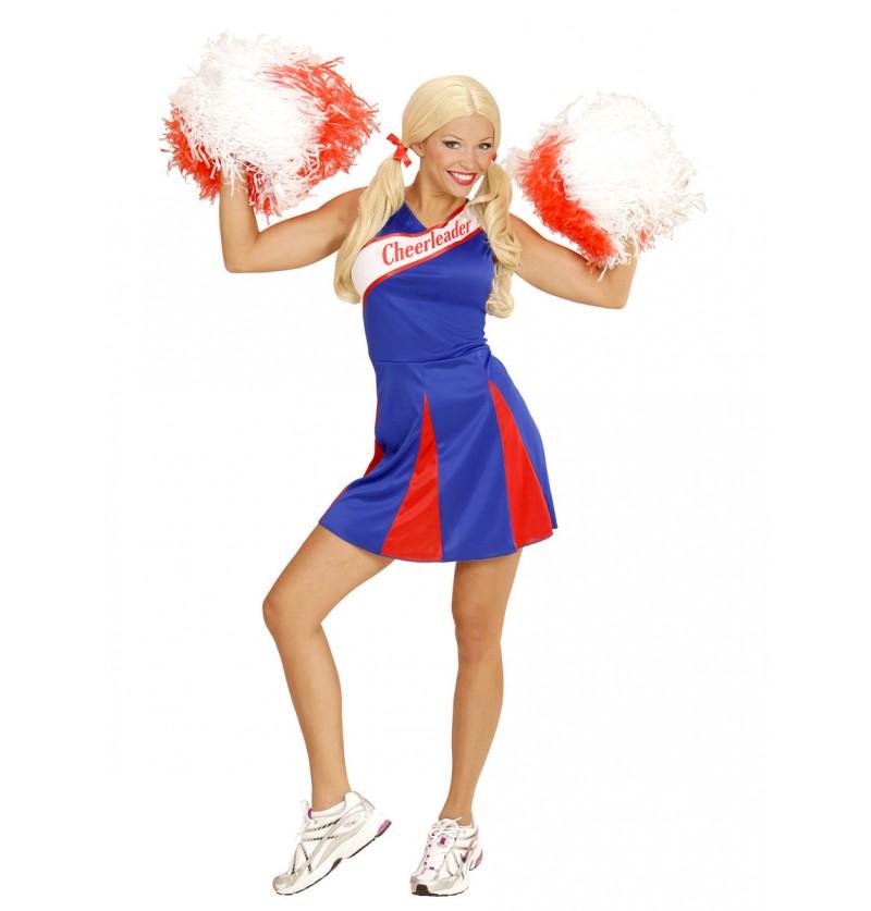 Disfraz de cheerleader azul para mujer