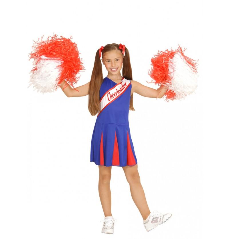Disfraz de cheerleader azul para niña